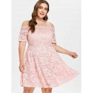 Dresses   Skirts - Off The Shoulder Plus Size Lace Dress 13b1524fe6ea